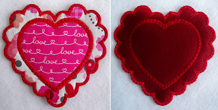 stitched applique front and back