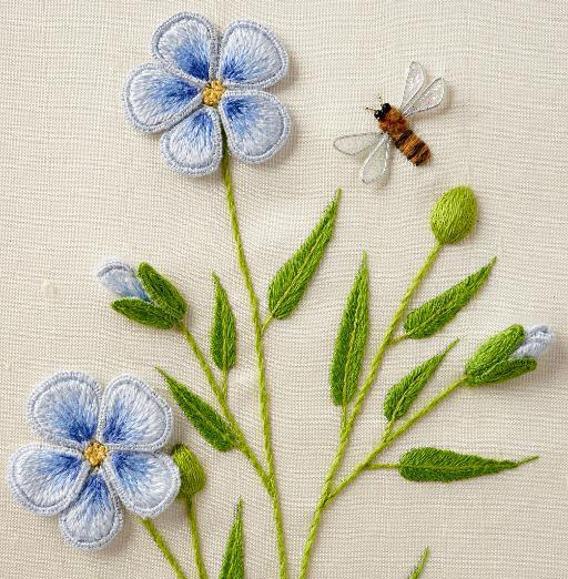 Stumpwork flowers and bee via Bluprint instructor Celeste Chalasani
