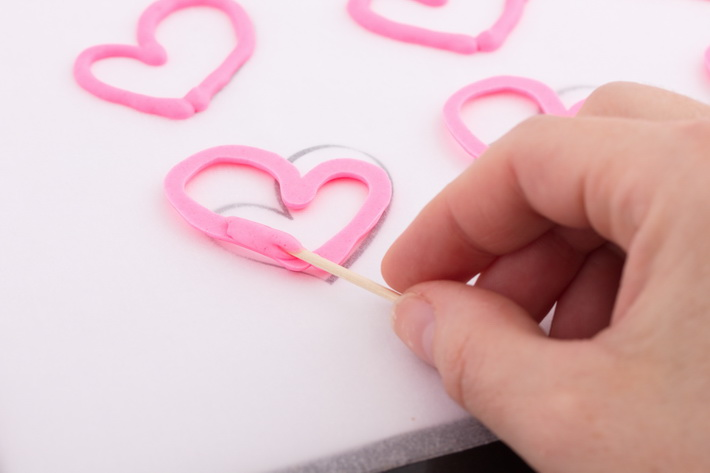 Attach toothpick to heart
