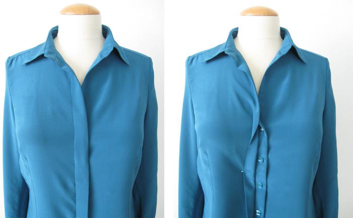 Silk blouse showing hidden button placket