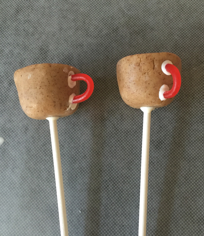 Coffee cake pops with licorice handles