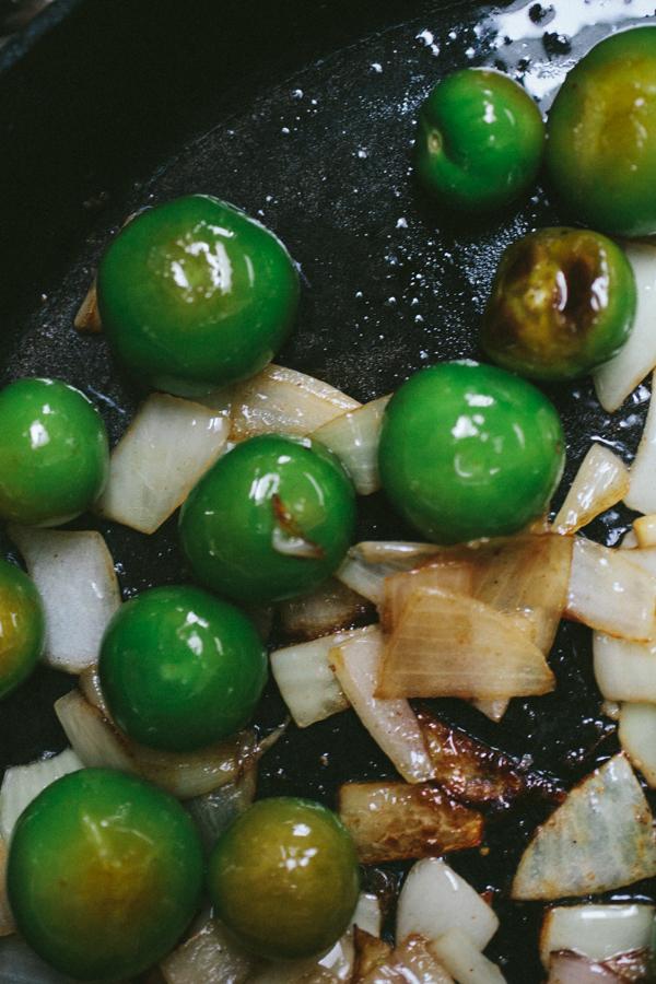 Roasting Tomatillos and Garlic
