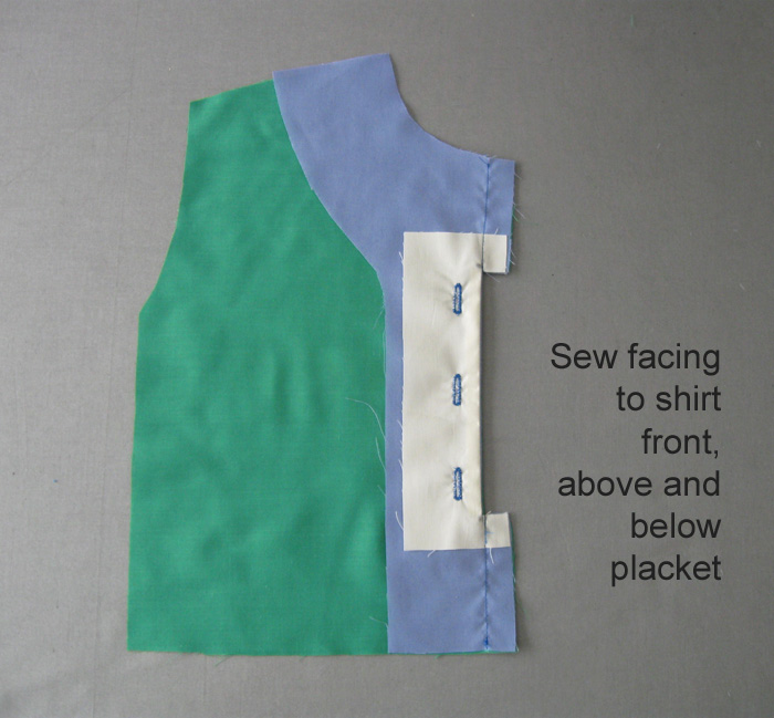 Sew facing to shirt front