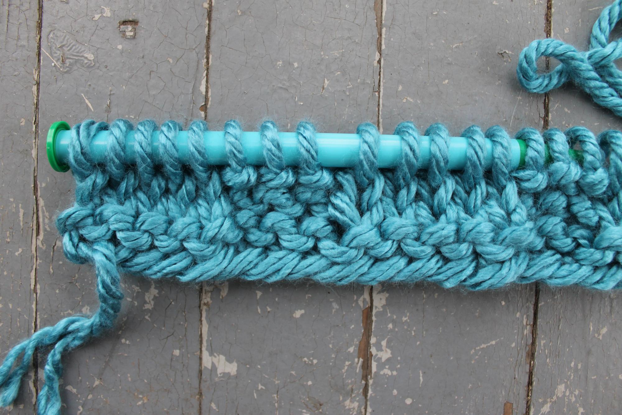 Basketweave knitting stitch row 2