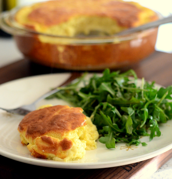 Cheese Soufflé with Arugula Salad
