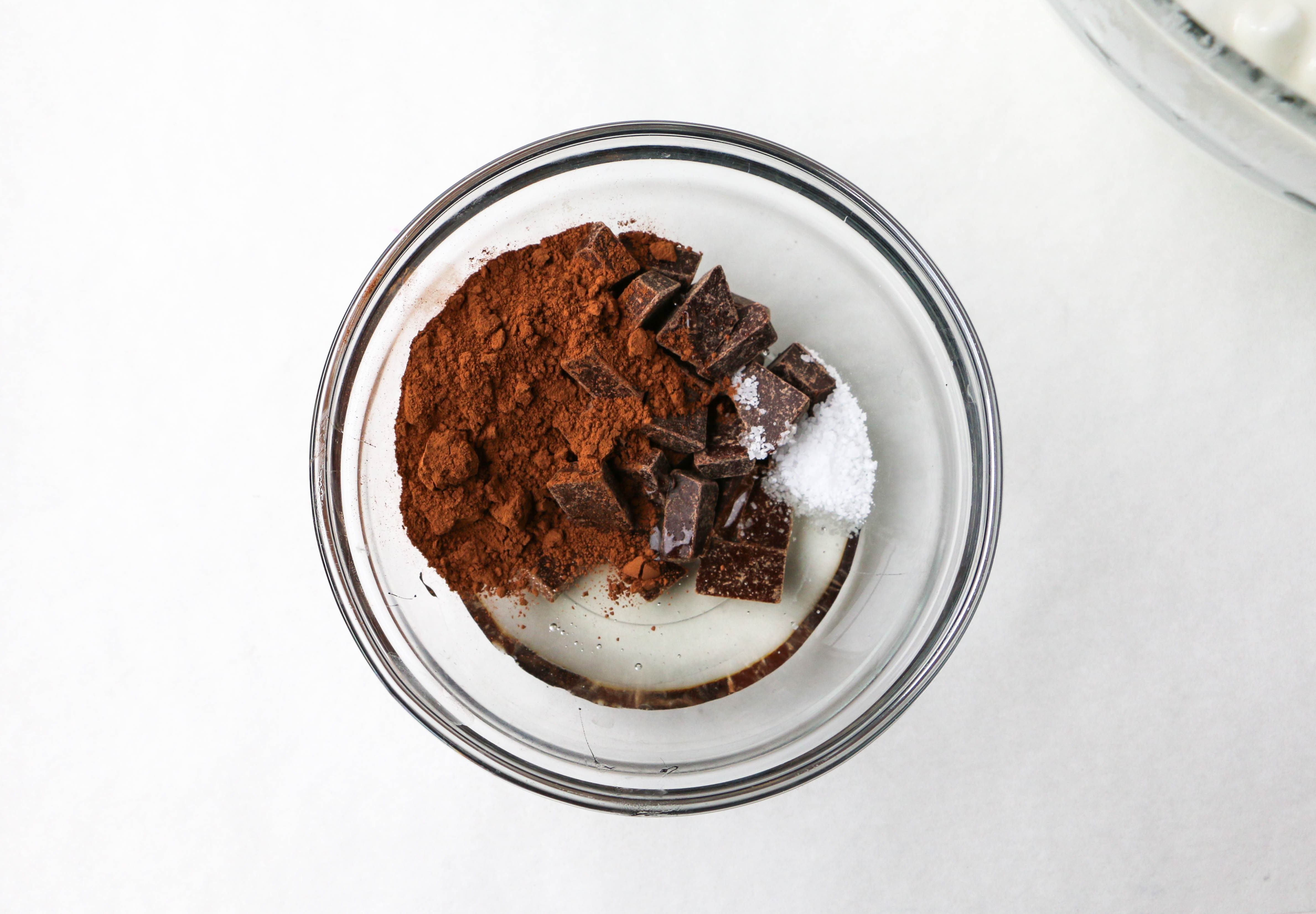 Combining chocolate, cocoa powder, salt, and corn syrup | Erin Gardner