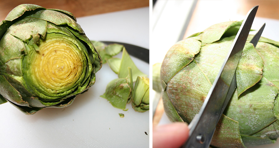 Cut the tip of the artichoke