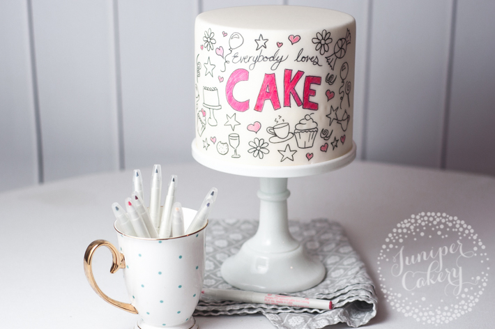 Cute and quick doodle cake tutorial by Juniper Cakery