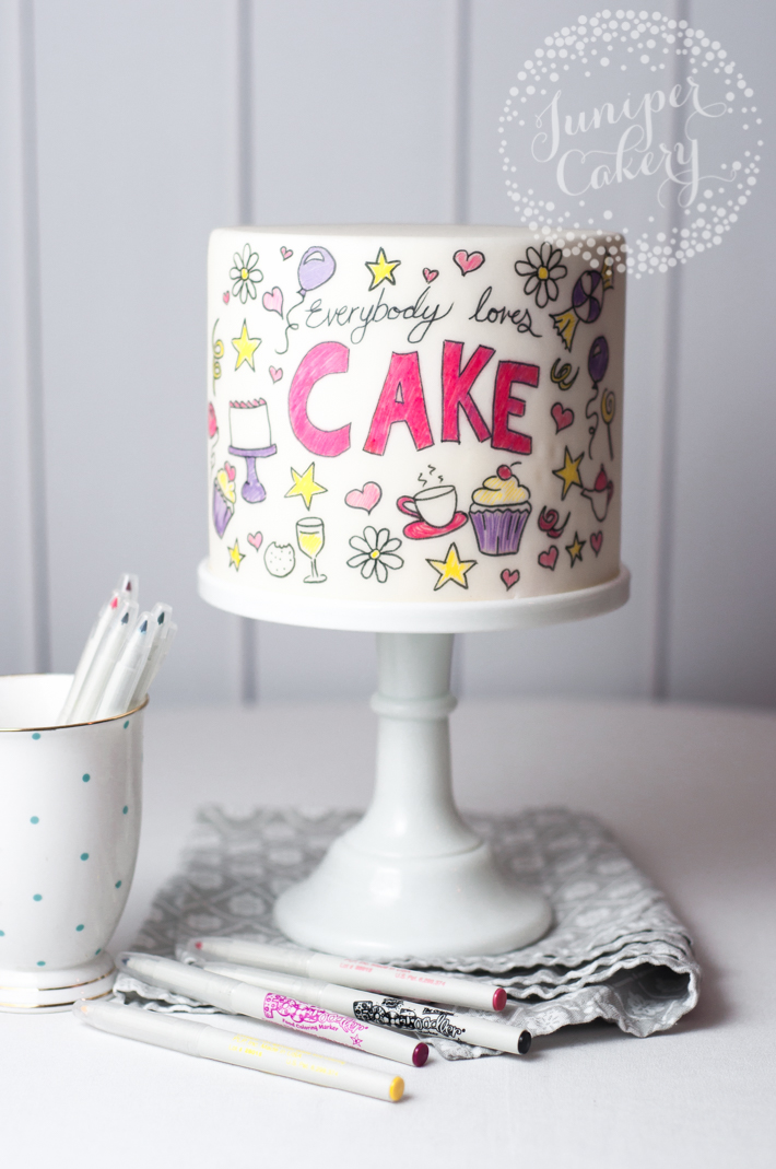 Super easy doodle cake tutorial for fun parties
