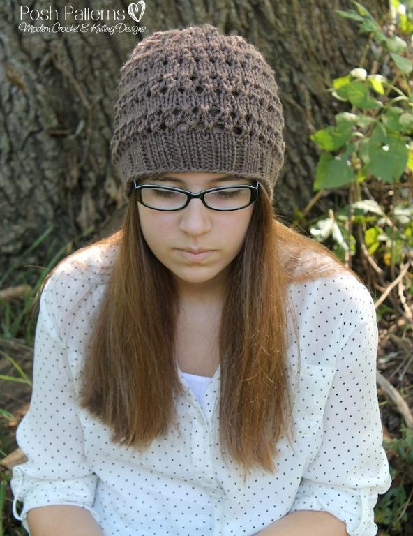 Knitting Pattern Eyelet Lace Hat Knitting Pattern