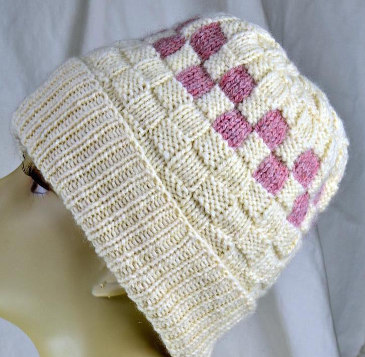 Checkerboard Slouch Knit Hat Pattern