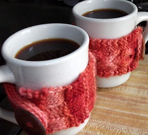 His and Hers Coffee Cozies FREE Knitting Pattern