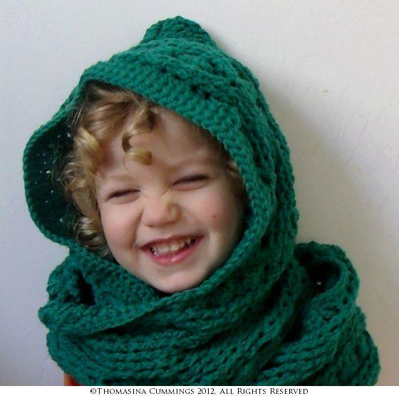 Cable and Clusters Hooded Scarf Scoodie Crochet Pattern