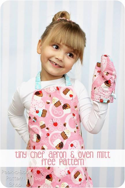 Tiny Chef Apron and Toy Oven Mitt FREE Sewing Pattern