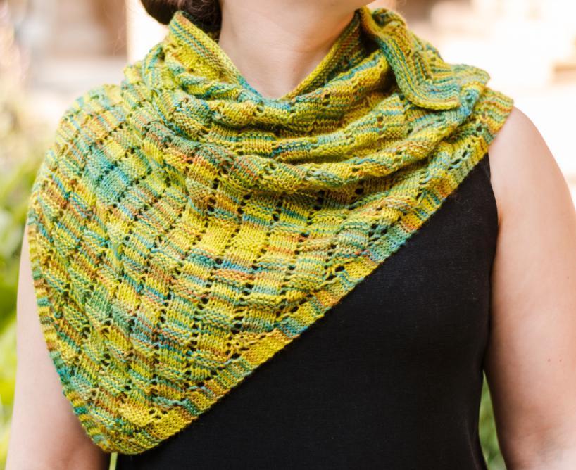 Basketweave Lace Shawlette FREE Knitting Pattern