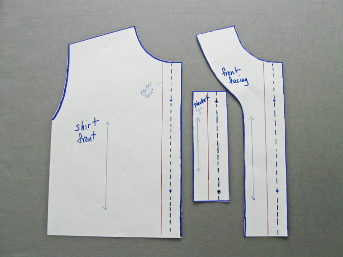 pattern pieces for hidden buttonhole placket shirt