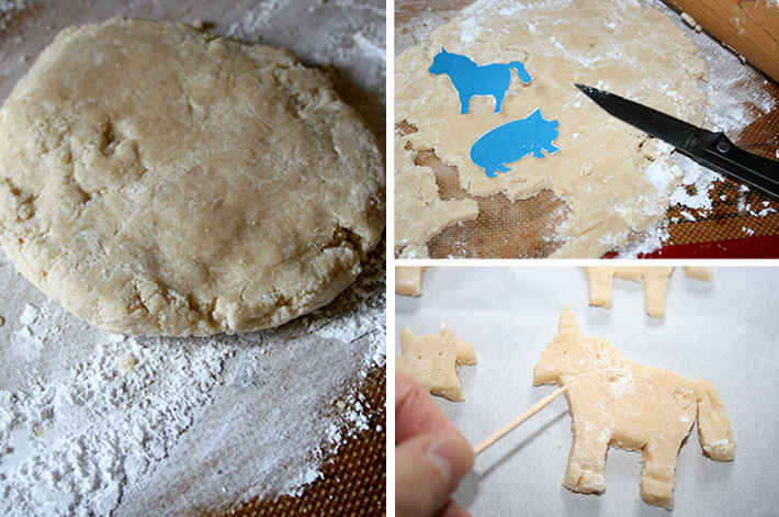 Rolling and cutting DIY animal crackers