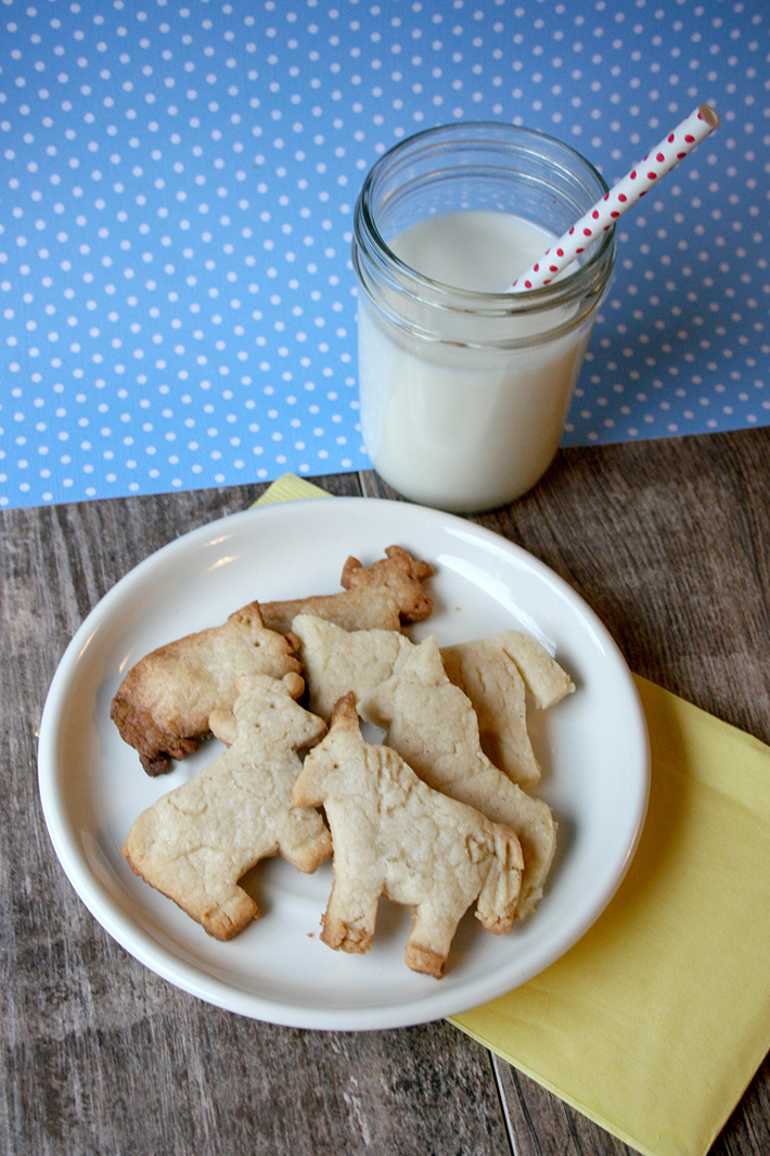 Plate of Homemade Animal Crackers and Glass of Milk
