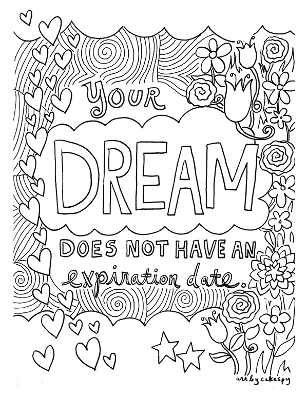 Coloring book page with words