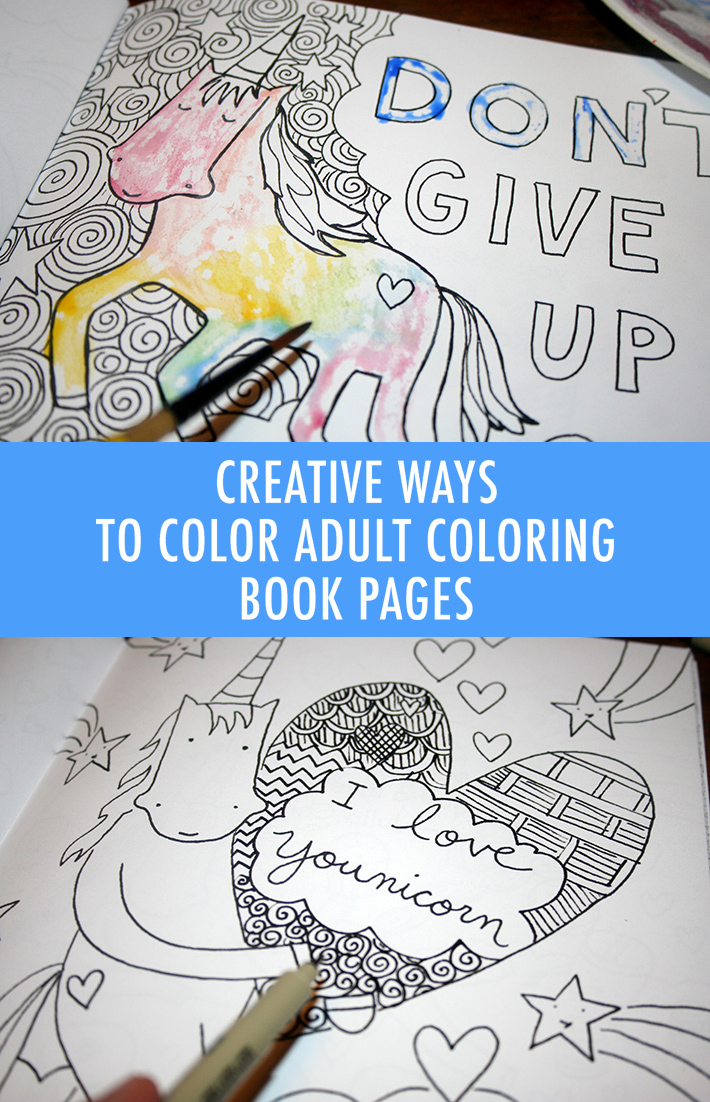 Creative ways to color in adult coloring book pages