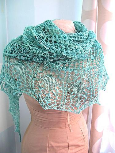 Glam Shells Knit Lace Shawl