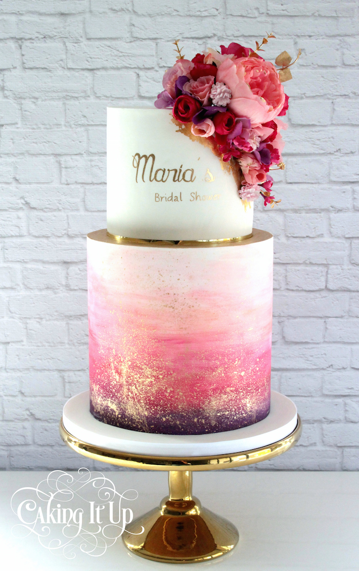 Gold Calligraphy Cake by Caking It Up