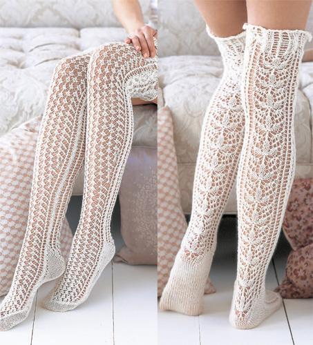 Knit Lace Stockings for Spring Knitting