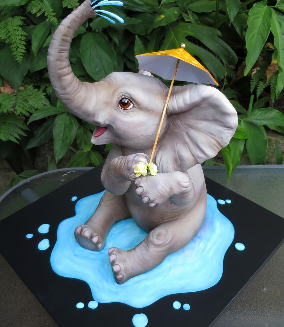 Margie Carter's 3-D painted Elephant Cake