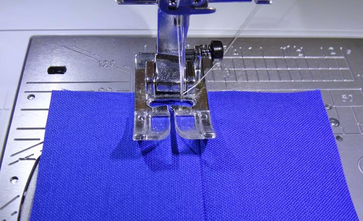 Zigzag foot ready to top-stitch
