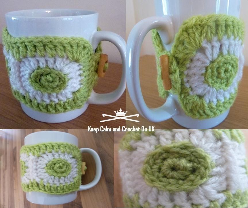dotty crochet mug cozy
