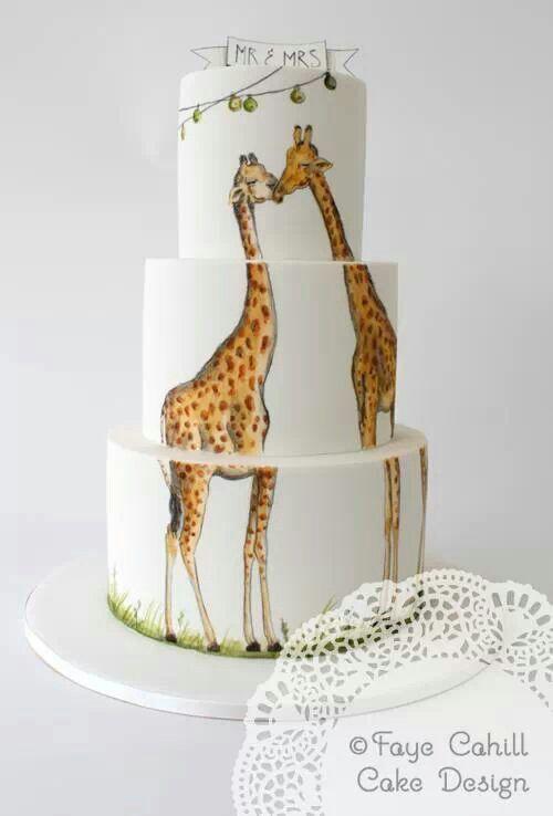 Fay Cahill Hand Painted Giraffe Cake