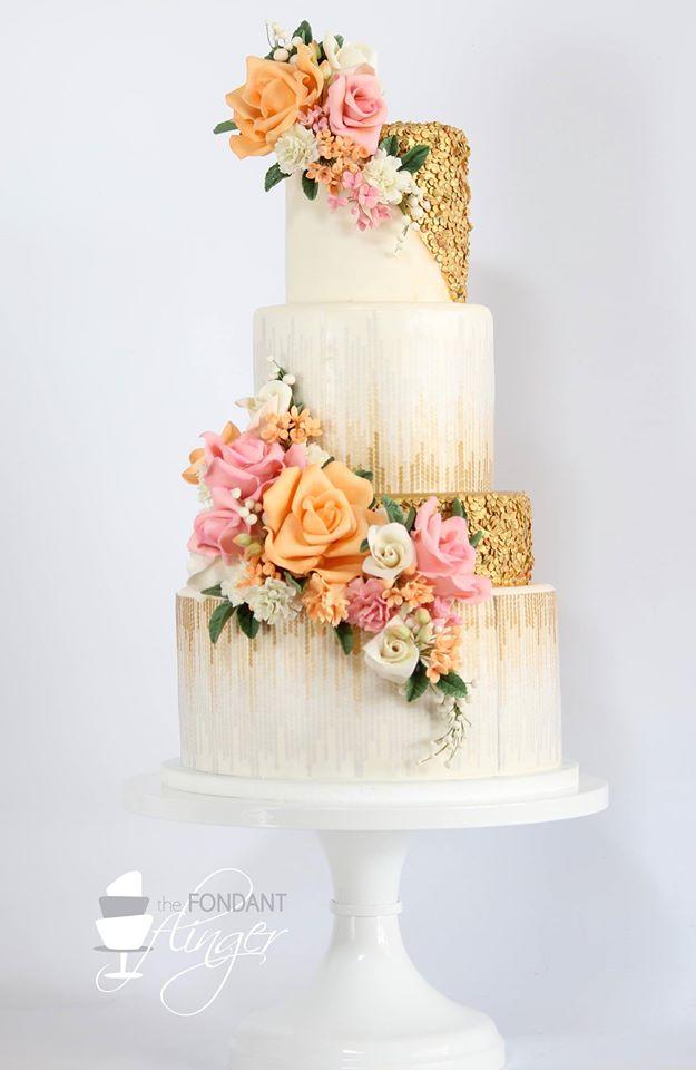 fondant flinger floral tiered cake