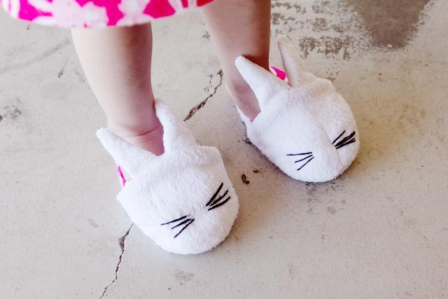 Keep your toes warm on Easter morning with these adorable bunny face slippers.