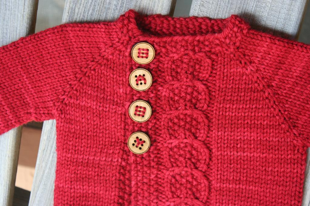 Red Baby Sweater With Baby Buttons