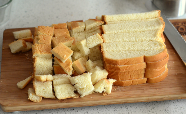 Cubed Bread for Bread Pudding