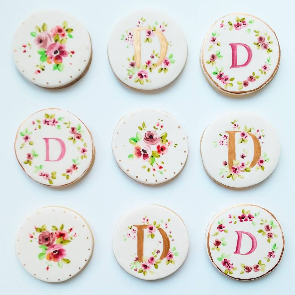 Nevie-Pie Cakes Hand Painted Monogram Cookies
