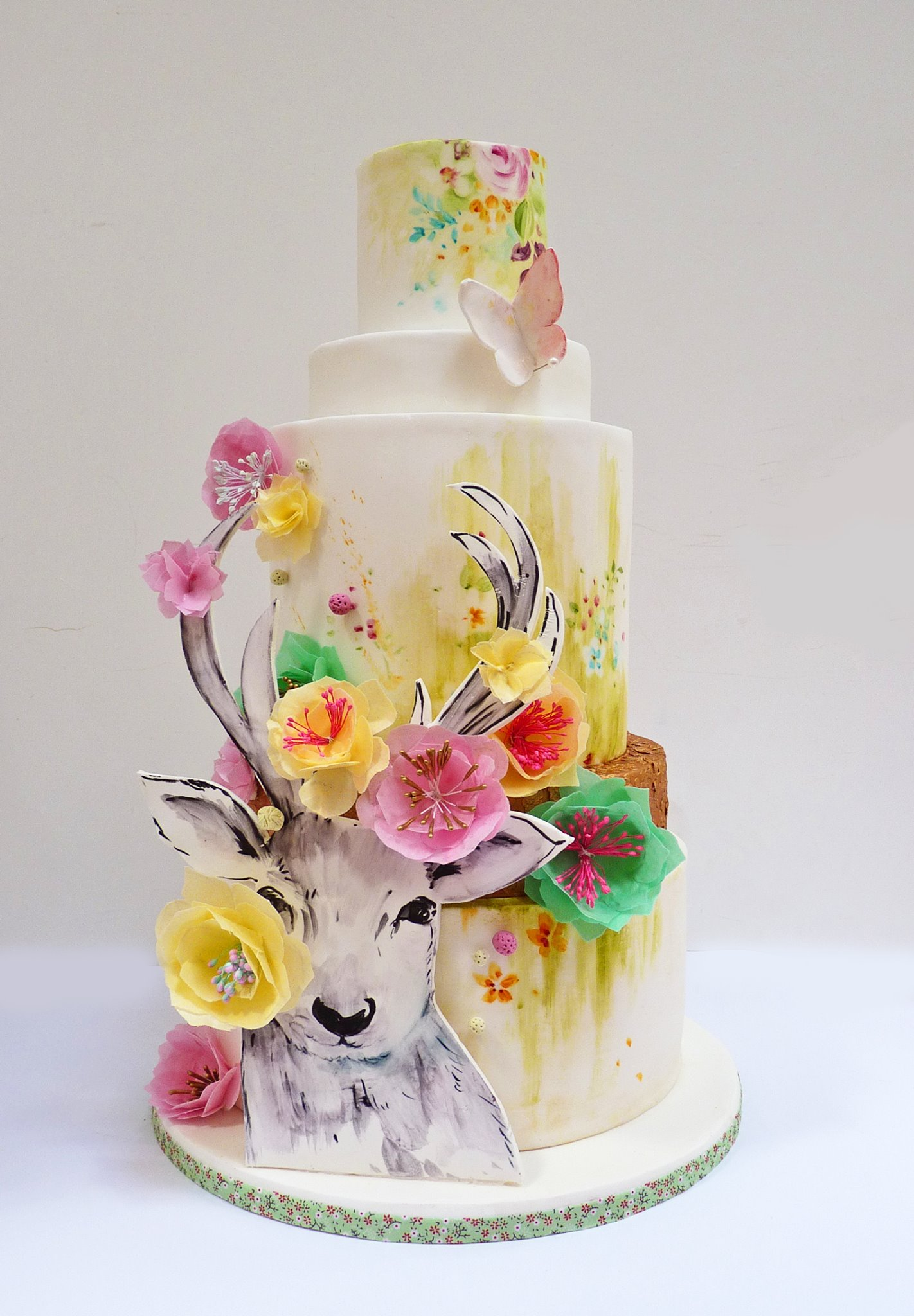 Hand Painted Cake with 3-D Elements