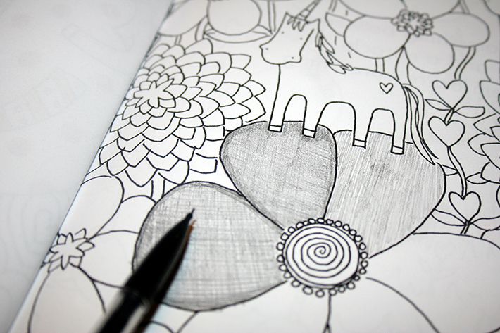 Pencil shading on coloring books