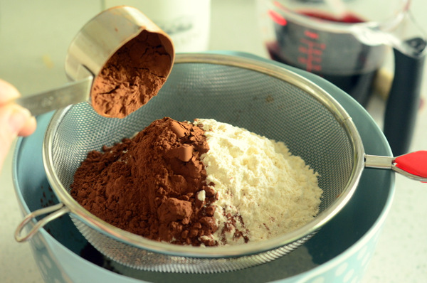 Sifting Together Cocoa Powder and Flour