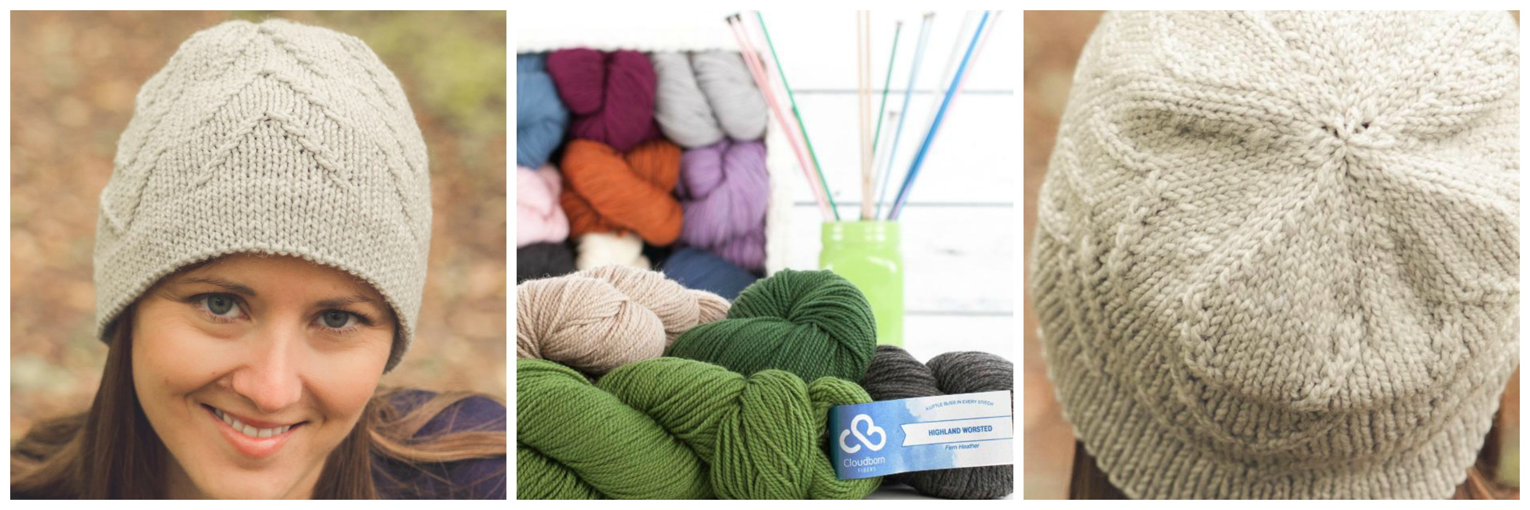 selection of yarn and woman wearing knit hat