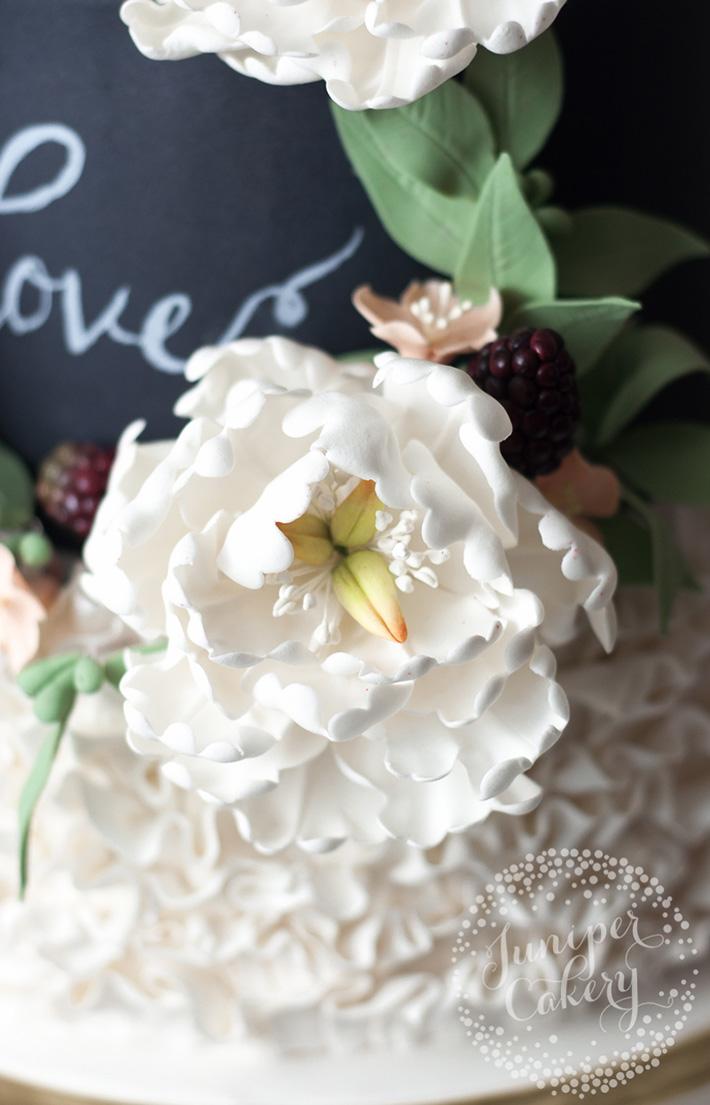 Sugar seeded eucalyptus with white peony flowers