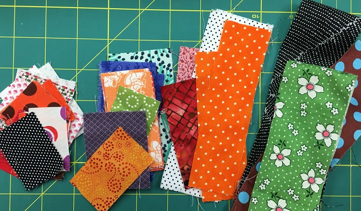 quilt fabric scraps sorted by size