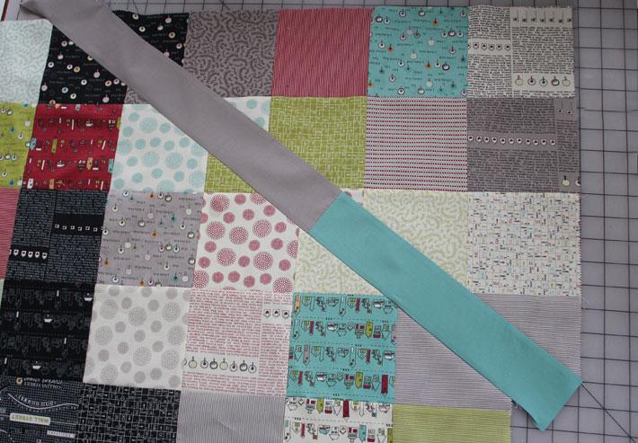 slash sewn into quilt