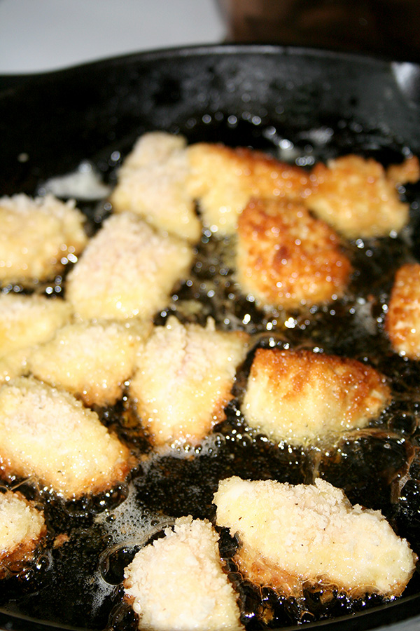Nuggets frying in oil
