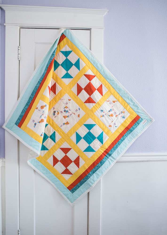 Yellow Red and Blue Baby Quilt
