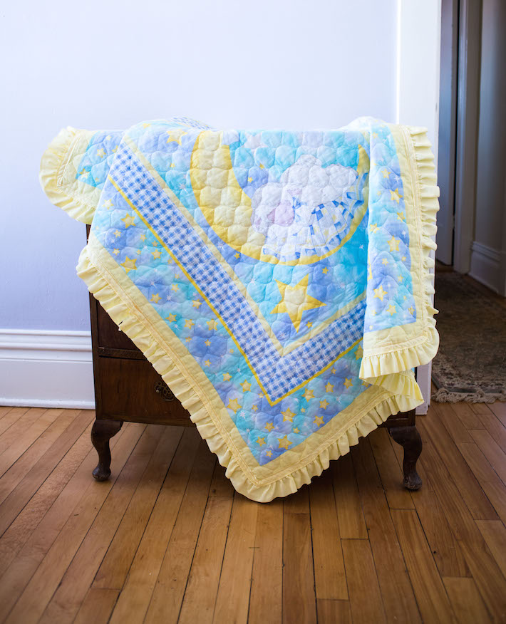 Blue and Yellow Ruffle Baby Quilt