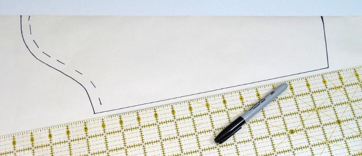 Draw the sleeve side seam