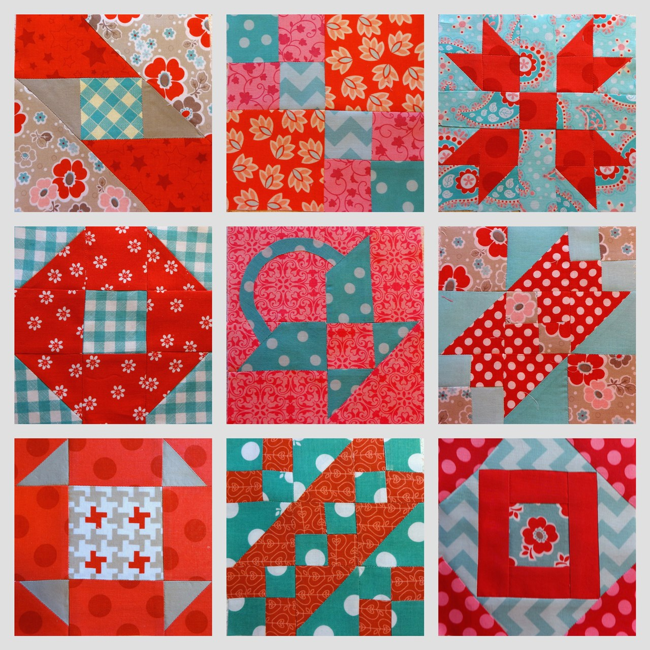 Red and Teal Farmers Wife Quilt