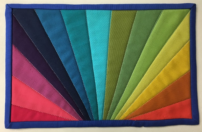Finished Rainbow Mug Rug