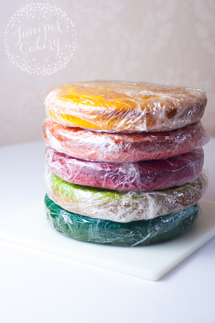 Tips and tutorial for a rainbow layer cake